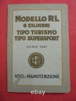 Alfa romeo rl 6 cilindri tipo turismo e supersport libretto uso e manutenzione