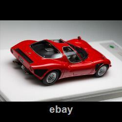 DMH 143 Scale Alfa Romeo Tipo 33 Stradale Rosso Corsa Car Model Silver Wheels