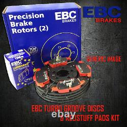 NEW EBC 284mm FRONT TURBO GROOVE GD DISCS AND REDSTUFF PADS KIT PD12KF159