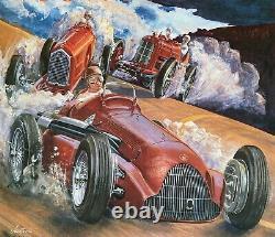 1985 Monterey Affiche De Course Historique Fangio Alfa Romeo 158/159 P2 Tipo A