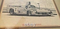 Vintage Alfa Romeo Tipo 33 Tt 12 Lithographie En Stylo Et Encre Par Cohn Barnes Jr 1975